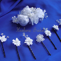 Bridal headpiece Organza rosettes and SWAROVSKI by Hoalanebridal