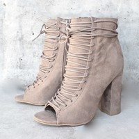 enchanted encounter vegan seude peep toe bootie - taupe