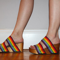 Vintage 70s RAINBOW WEDGE Sandals / Size 7 us, 4.5 uk, 5.5 aus, 37.5 / Chunky Wood Shoes / Gay Pride, Lgbtq / Open Toe Summer Sandals / Rare