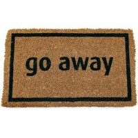 Imports Unlimited Go Away Black 17 in. x 28 in. Non Slip Coir Door Mat-P689 at The Home Depot