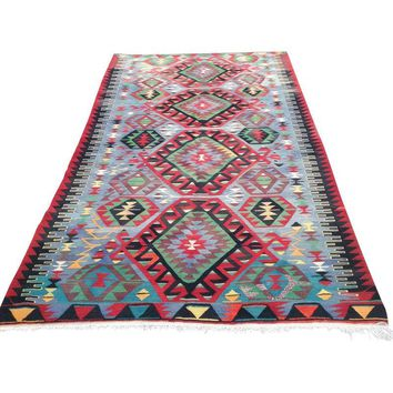 "Pre-owned Vintage Turkish Handwoven Kilim Rug- 6'4"" x 10' 6"""