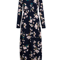 Navy Floral Print Buttoned Front Maxi Dress