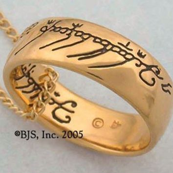 Gold Plated Gollum One Ring Black Script Lord of the Rings