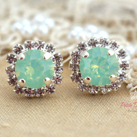 Clear Opal Mint green Stud Crystal stud Petite vintage earring bridesmaids earrings - Silver plated post earrings real swarovski rhinestones