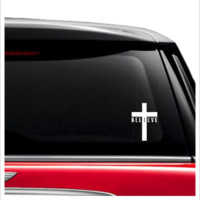 cross believe car decal sticker