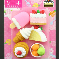 Omokeshi Dessert Eraser Set 02 with Pink Dipped Popsicle