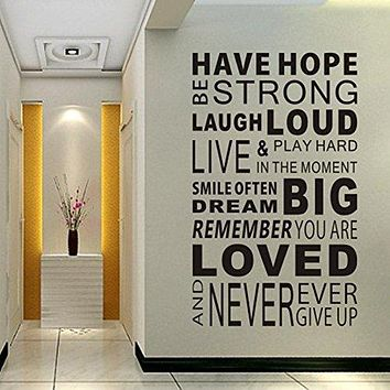 Delma Inspirational Wall Decals Quotes,Word Wall Sticker Quotes,Motivational Wall Decal,Family Inspirational Wall Art Sticker Vinyl Wall Mural Paint Decor Have Hope