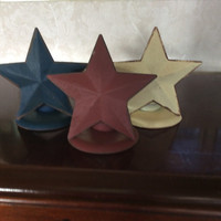 Rustic Candle Holders, Set of 3 Red White Blue Metal Stars, Votive Holder, Americana Rustic Wedding, Country Decor 4th of July Patriotic