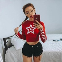 Women Casual Five-pointed Star Tartan Print Long Sleeve Bodycon T-shirt Crop Tops