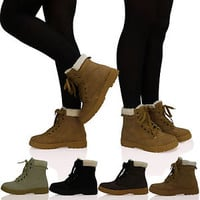 LADIES WOMENS GIRLS LACE UP FUR LINED WINTER ANKLE GRIP SOLE BOOTS TRAINERS SIZE