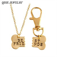 2pcs/set Gold Silver Color Dog Bone Best Friends Charm