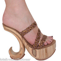 "Karo 0495 5"" Wooden Carved Platform Curved Wedge Sandal 4-14 Unique"