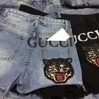GUCCI Trending Woman Letter Print Tiger Embroidered Denim Shorts