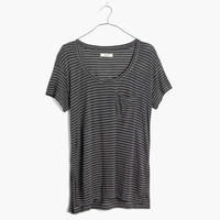 Anthem Short-Sleeve Scoop Tee in Mini Stripe