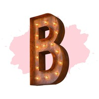 """24"""" Letter B Lighted Vintage Marquee Letters (Modern Font/Rustic)"""