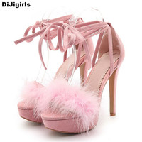 2017 Platform Sandals With Fur Fashion Ankle Strapped Sandals Women High Heels Casual Women Pumps