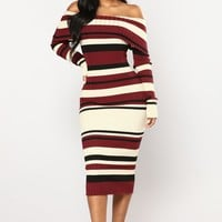 Julissa Knit Dress - Nude/Burgundy