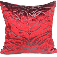 Burgundy velvet throw pillow sham – 16x16 custom pillow cover – Luxury red hand printed zebra cushion cover – Couch sofa toss accent chair