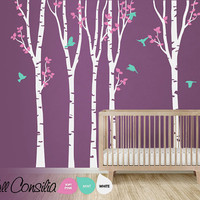 """Tree with birds Wall Decal. Wall Sticker. Vinil wall decal. Birch trees. Large scene: approx 142"""" x 93""""  - K048"""