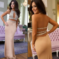 Prom Dresses 2016 Sexy Mermaid Prom Gown Sleeveless Beadings Two Pieces Chiffon Evening Gown Vestidos de baile Evening Party