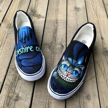 Wen Design Cheshire Cat Hand Painted Canvas Sneakers Custom Slip On Men Women Skateboard Athletic Style Shoes