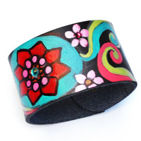 Colorful Boho Cuff Bracelet Hand Painted Psychadelic Art Hippie Jewelry FREE SHIPPING