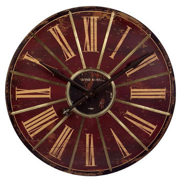 Wall Clock - Red And Antiqued Gold