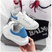 ALEXANDER MCQUEEN Classic Popular Woman Casual Sneakers Sport Shoes(Velvet Tail) Sky Blue