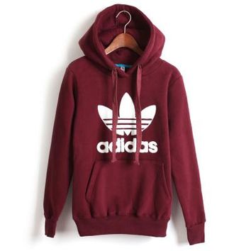 """""""Adidas"""" Unisex Casual Clover Letter Print Couple Loose Long Sleeve Pullover Hooded Sweater Short Sweatshirt"""