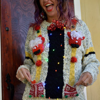Light up shot glass Holder, Party Sweater, Ugly Christmas Sweater, Medium, Woman, alcohol, ugly xmas sweater, drink holder