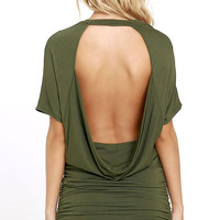 Chic Composure Olive Green Backless Dress