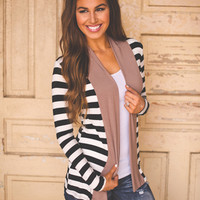 STRIPED CARDIGAN- MOCHA/BLACK
