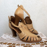 Cut Out Shoes, Peep Toe High Heels, Strappy Sandals, 70s Shoes, Open Toe Sandals, Tan Leather Shoes, Summer Sandals, Size 7,8, EU 38
