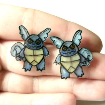 Wartortle Pokemon Earrings, Glitter Coating or No Glitter Option, OOAK,Hypoallergenic Surgical Steel Posts, Made to Order