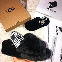 UGG Winter High Quality Classic Popular Women Casual Fluff Yeah Slippers Shoes Black