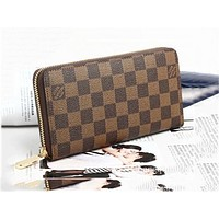 LV Fashion Hot Handbags Long Zipper Wallet for Men and Women Coffee lattice