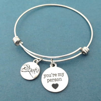 Pinky, Promise, you're my person, Bangle, Bracelet, Grey's Anatomy, Youre my person, Greys Anatomy, Love, Lover, Best friend, Gift, Jewelry