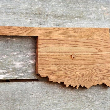 Oklahoma state shape wood cutout map sign wall art w/star.  Handcrafted, repurposed Oak flooring 11x22 in. Country Cabin Rustic Gift Decor