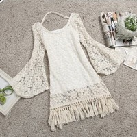 Fanewant — NICE TESSEL LACE THE HORN SLEEVE DRESS