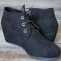 Montana Suede low wedge lace-up bootie | Black
