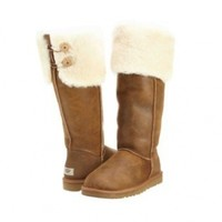 Womens UGG Australia Over the Knee Bailey Button Boot Bomber Jacket Chestnut 9