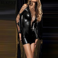 Sexy Gothic Deep-v Faux Leather Mini Dress