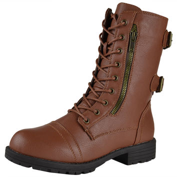 Womens Mid Calf Boots Motorcycle Hiking Combat Casual Shoes Tan