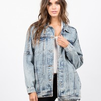 Oversized Vintage Washed Denim Jacket
