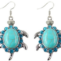 Turtle Faux Turquoise Earrings