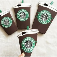 Brown Green White Silicone Starbucks Coffee Cup Back Phone Case Iphone Samsung Cover