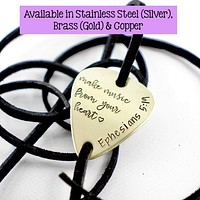 """""""Make music from your heart"""" Guitar Pick leather wrap bracelet"""