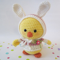 Easter Chick in Bunny Ear Hoodie, Crochet Chick, Toy Chick, Amigurumi Chick Handmade by CROriginals