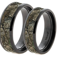 Camouflage On BlackTungsten Couples Band Rings