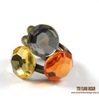 Trio Rings - Citrine, Orange and Grey Round Flat Back Crystal on Vintage Brass Ring - Set of 3